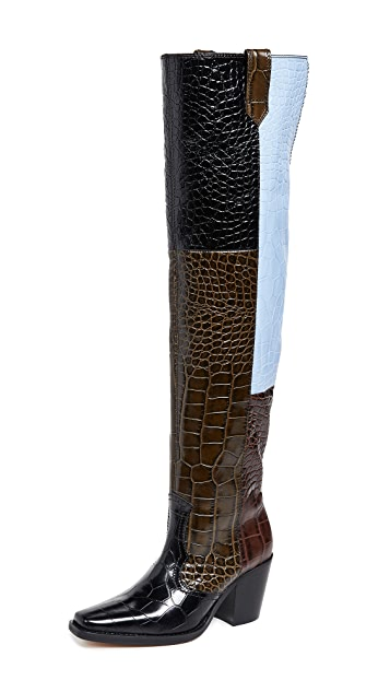 GANNI Высокие ботинки в ковбойском стиле