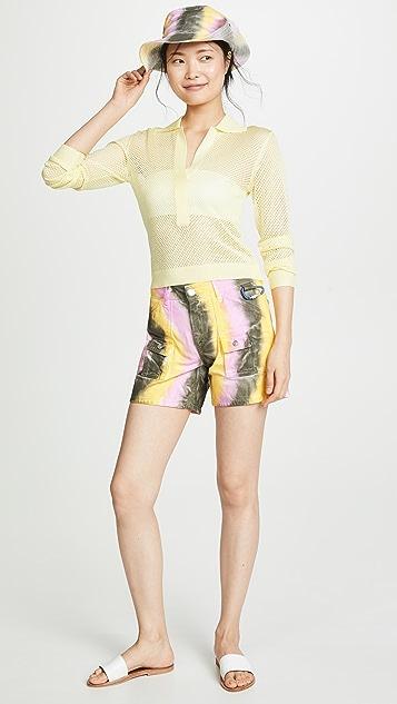 GANNI Color Washed Denim Shorts