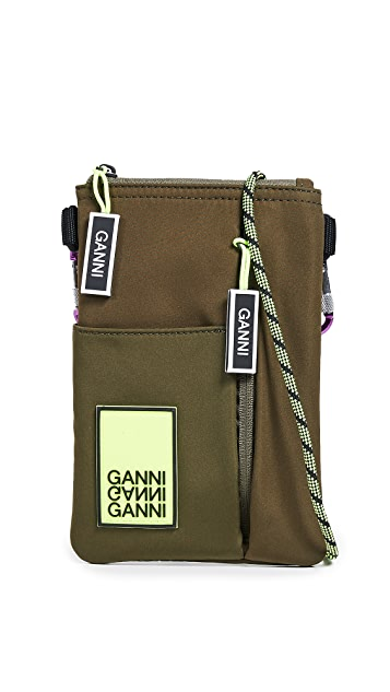 GANNI Tech Fabric Crossbody Saddle Bag