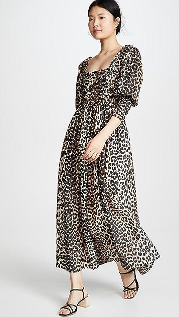 GANNI Платье из шелка и хлопка