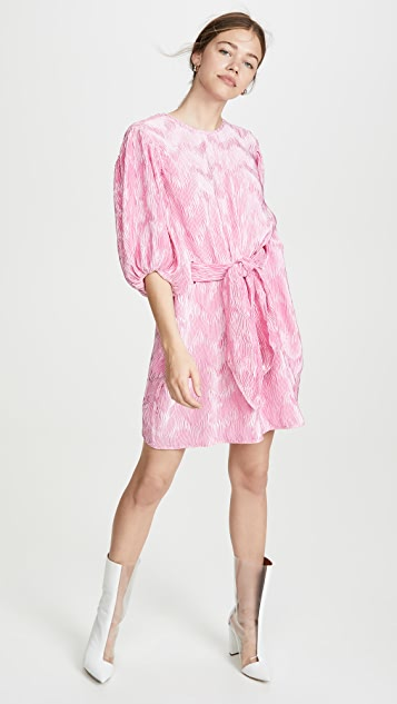 GANNI Pleated Satin Dress