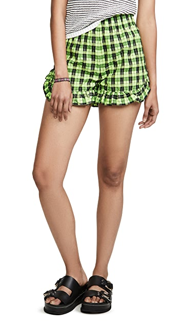 GANNI Seersucker Check Shorts