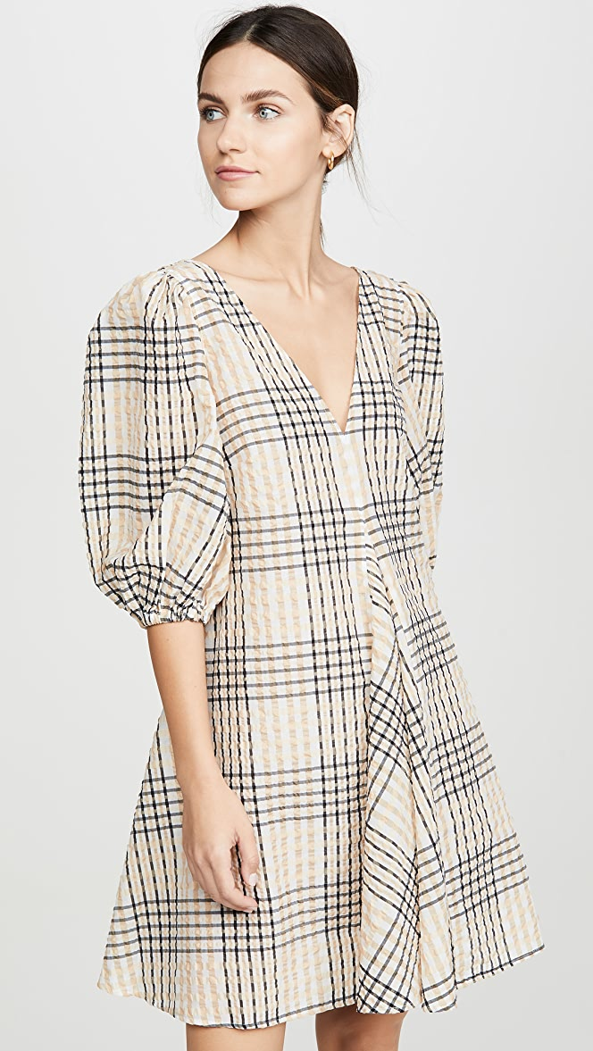 Ganni Seersucker Check Dress Shopbop