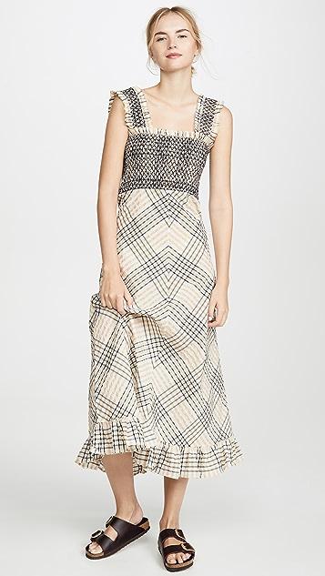 GANNI Макси-платье в клетку из ткани в крепированную полоску