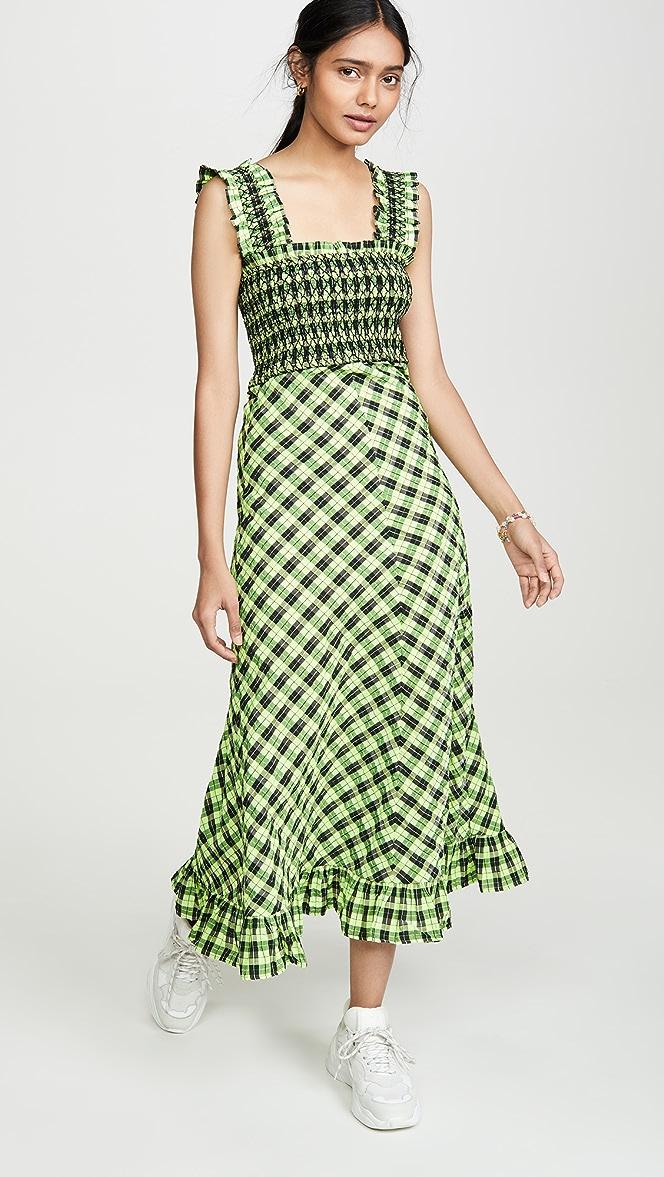 Ganni Seersucker Check Maxi Dress Shopbop
