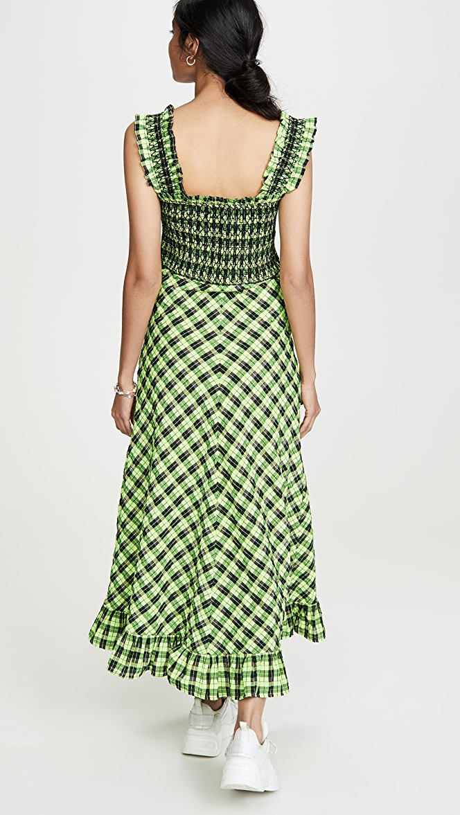 Ganni Seersucker Check Maxi Dress Shopbop