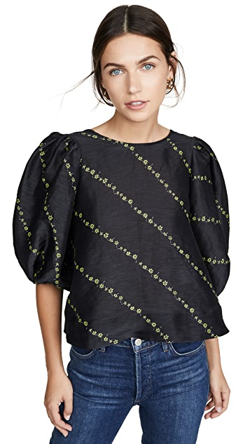 GANNI Блуза из шелковистого льна