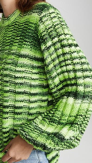 GANNI Неоновый меланжевый трикотажный свитер