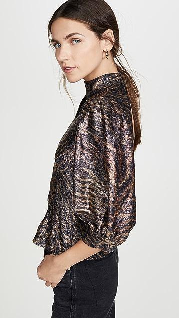 GANNI 金属色平纹针织女式衬衫