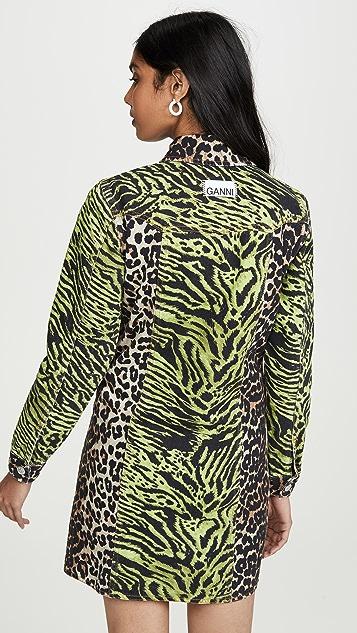 GANNI Print Denim Dress