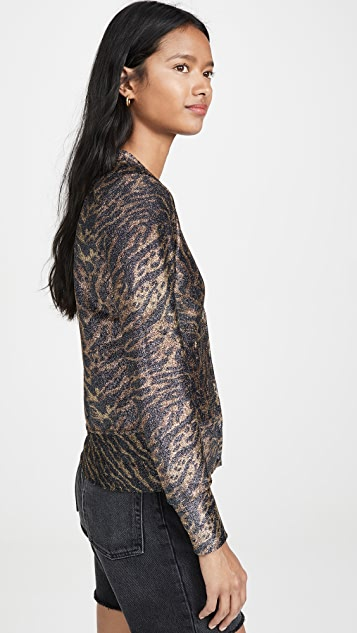 GANNI 金属色平纹针织开襟衫