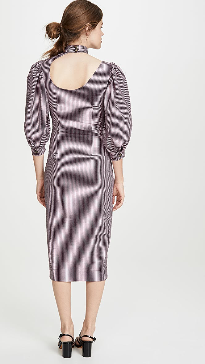 Ganni Stretchable Seersucker Dress Shopbop