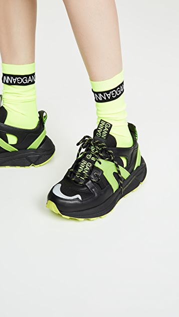 GANNI Neon Logo Socks