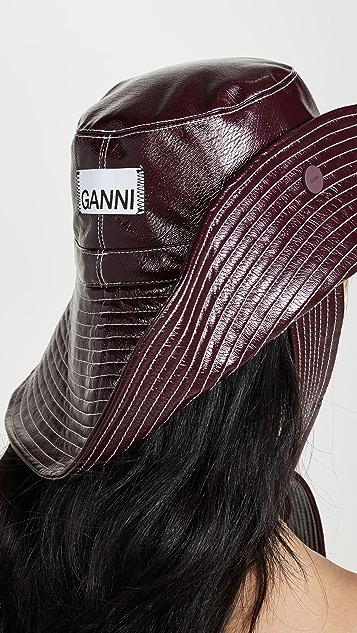 GANNI Patent Bucket Hat