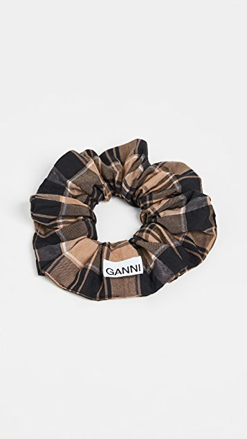 GANNI Seersucker Check Scrunchie