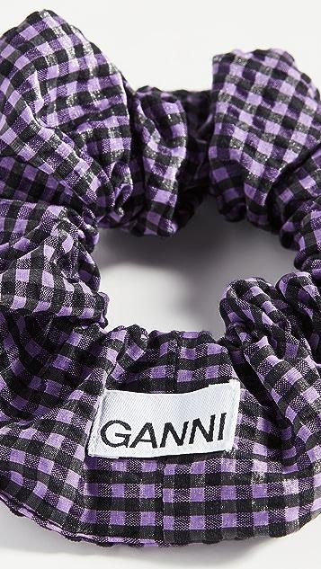 GANNI Seersucker Check Scrunchie