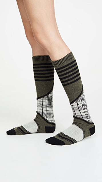 GANNI 滑雪格纹袜子