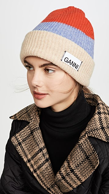GANNI 条纹针织毛线帽