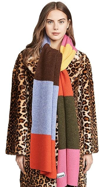 GANNI Трикотажный шарф в полоску