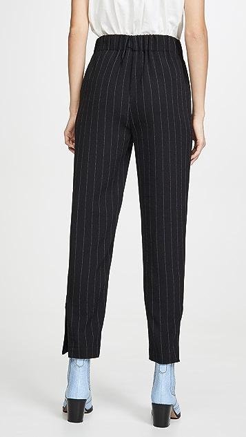 GANNI 修身款式绉绸裤子