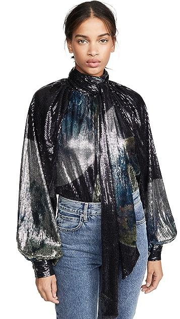 GANNI Блуза из сетки с блестками