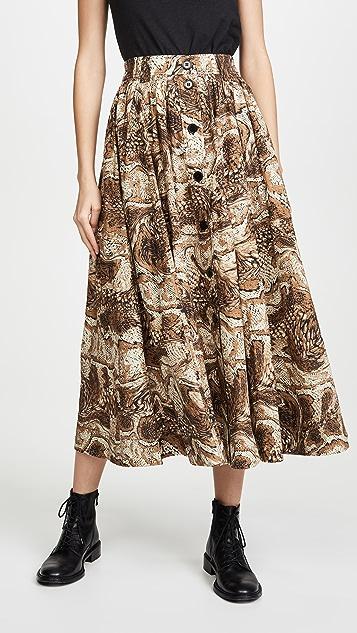 GANNI Printed Cotton Poplin Skirt