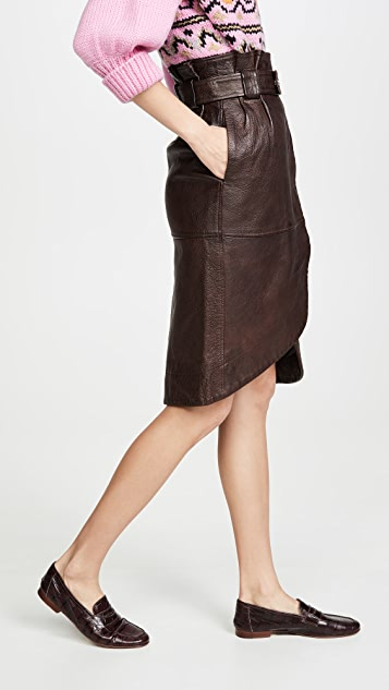 GANNI Grain Leather Skirt