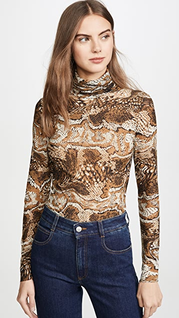 GANNI Printed Mesh Top