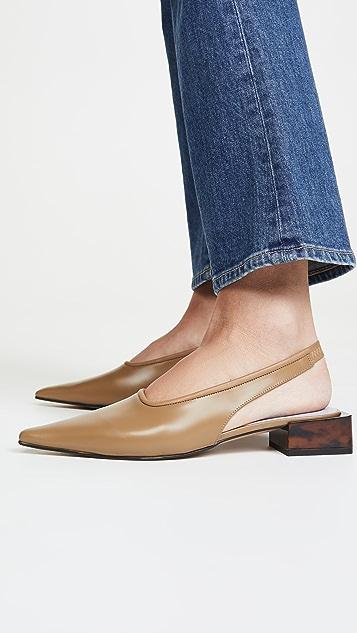 GANNI Low Heel Slingback Flats