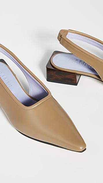 GANNI 低跟露跟平底鞋