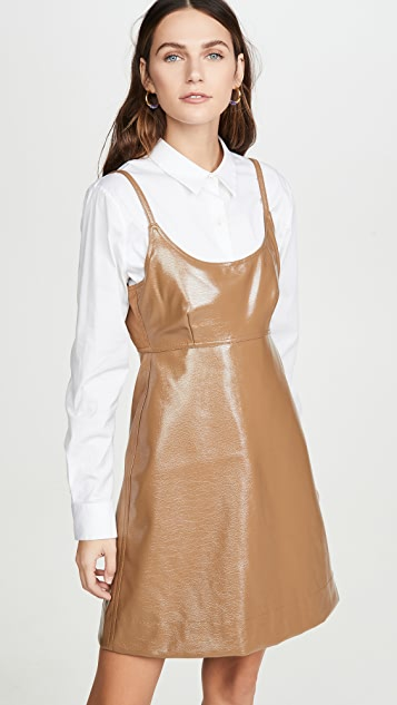 GANNI Мини-платье из лакированной искусственной кожи