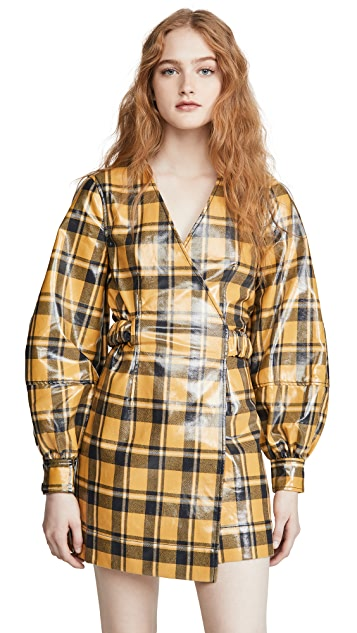 GANNI Coated Flannel Dress