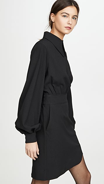 GANNI 再生厚实绉绸平连衣裙