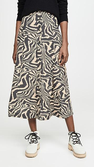 GANNI 绉绸印花半身裙