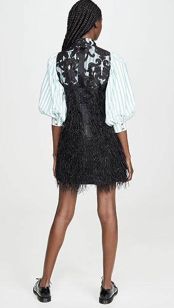 GANNI Платье из хлопка с перистым принтом