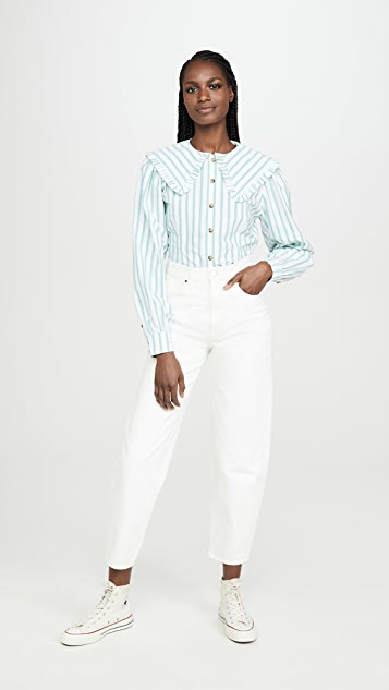 GANNI Feathery Cotton Blouse