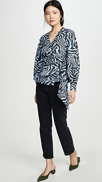 GANNI 印花棉质府绸女式衬衫