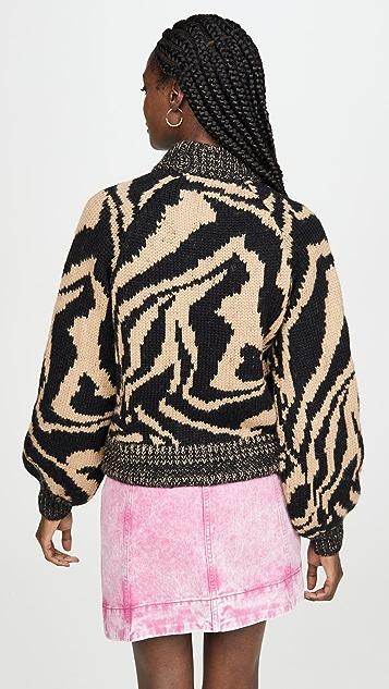 GANNI Шерстяной свитер ручной вязки