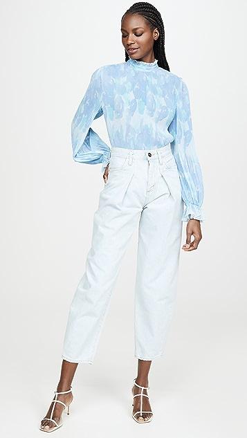 GANNI Блуза из жоржета со складками