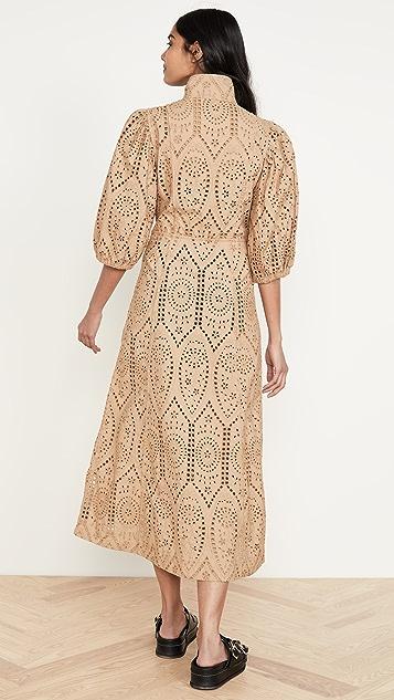 GANNI Платье Broderie Anglaise