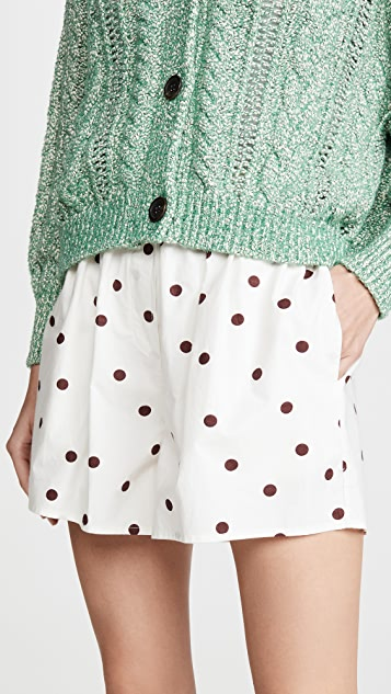 GANNI Printed Cotton Poplin Shorts