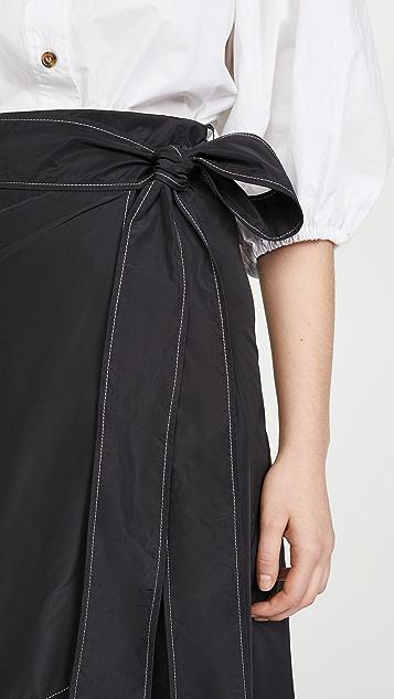 GANNI 再生面料厚实聚酯纤维半身裙