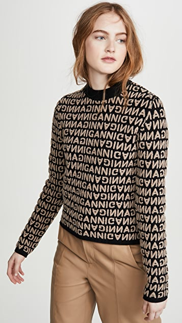 GANNI Jacquard Knit Sweater