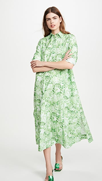 GANNI Printed Cotton Poplin Dress