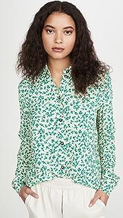 GANNI 印花绉绸系扣衬衫
