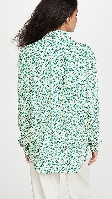 GANNI Printed Crepe Button Down Shirt