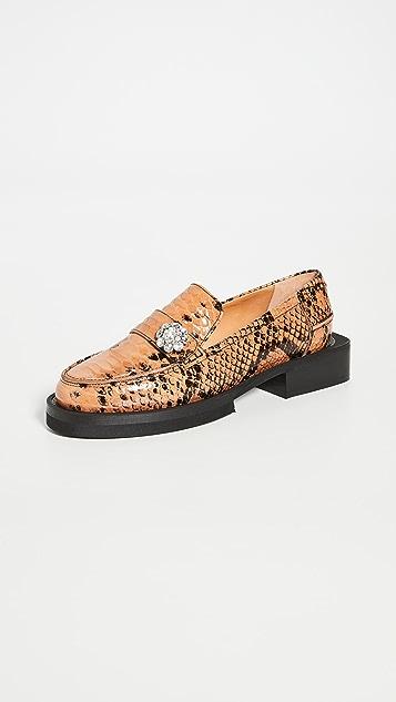 GANNI 珠宝镶嵌乐福鞋浅口船鞋