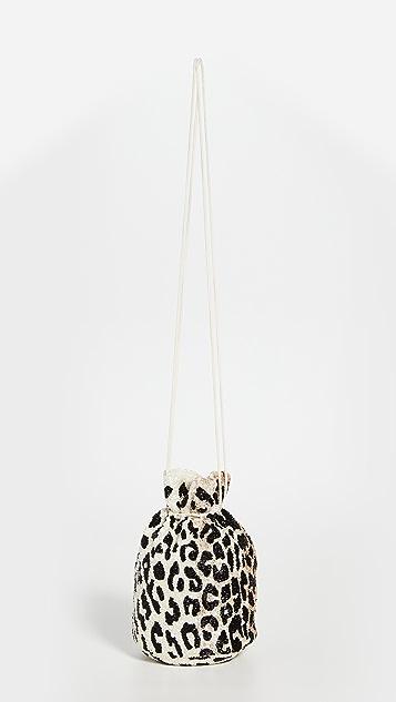 GANNI Сумочка с леопардовым принтом и бусинами