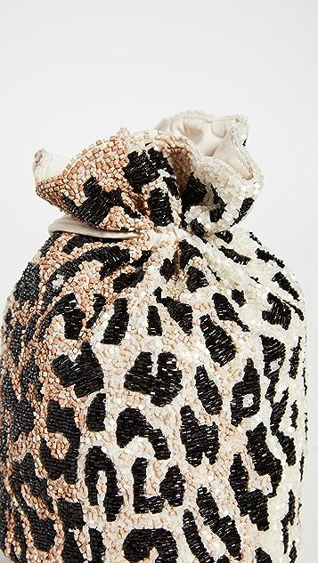 GANNI 珠饰豹纹手包