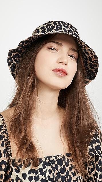 GANNI 印花棉质府绸帽子